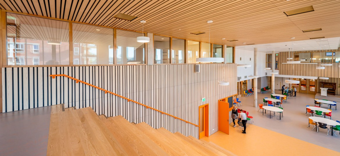 Linear Veneered Wood Walls