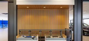 Linear Veneered Wood Walls